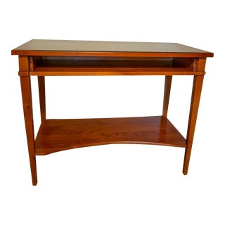 French Grange Cherry Wood Desk W/ Glass Top