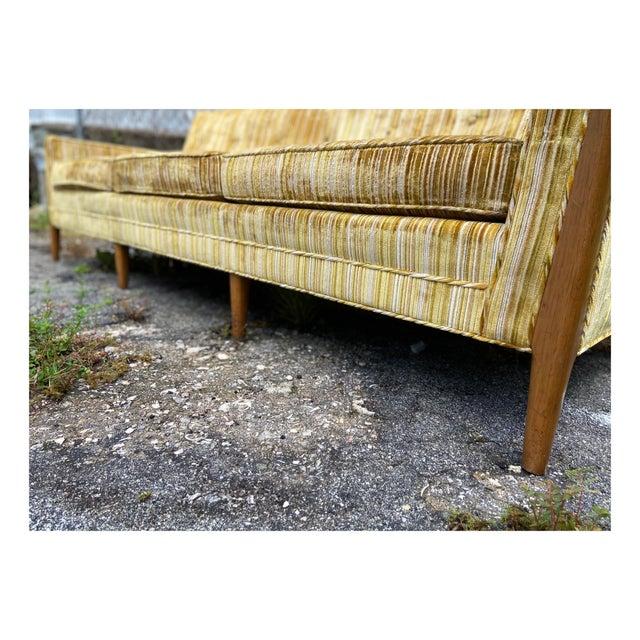 Jack Lenor Larsen Mid-Century Modern Yellow Striped Variegated Velvet Sofa For Sale - Image 4 of 13