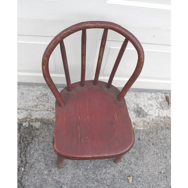 Red 19th Century Original Red Painted Children's Chair For Sale - Image 8 of 8