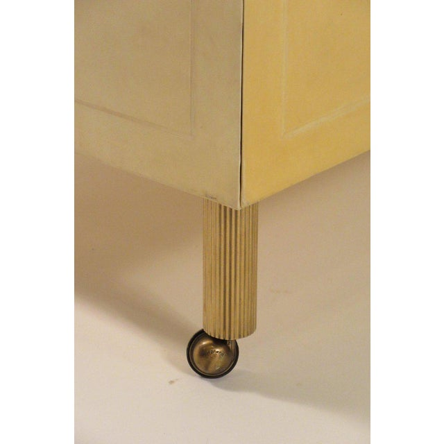 1980s 1980s Contemporary Garrison Rousseau Custom Shagreen and Parchment Side Table For Sale - Image 5 of 13