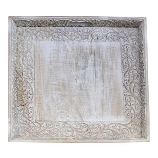 Rustic Washed Carved Wood Tray