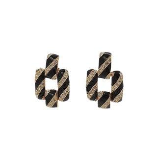 1980s Ciner Black Enamel & Rhinestone Earrings For Sale
