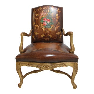 Old Hickory Tannery Leather Gold Gilt Hand Painted Arm Lounge Chair For Sale