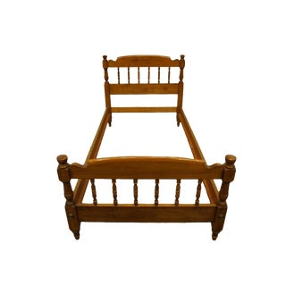 Early American Tell City Solid Hard Rock Maple Colonial Style Twin Size Bedframe For Sale