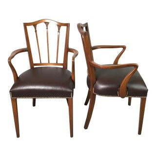 Mahogany and Leather Hepplewhite Stuye Armchairs - A Pair For Sale