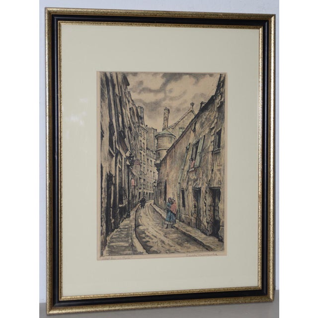 "Joseph Margulies (1896-1984) ""The Oldest Rue in Paris"" Etching W/ Aquatinit C.1930s For Sale - Image 11 of 11"