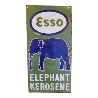 Vintage Esso Elephant Enamel Sign For Sale