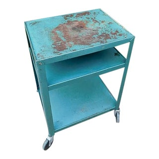 1950s Industrial Teal Weathered Bar Cart For Sale