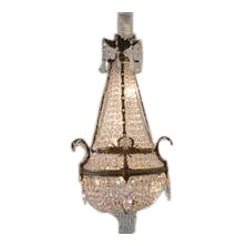 19th Century Gilt Bronze Empire Chandelier With Crystals For Sale