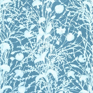 Scalamandre Wildflower Fabric in Blueprint Sample For Sale
