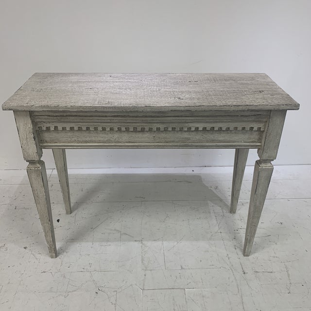 Gray 1990s Custom Console With Antique Pediment For Sale - Image 8 of 13
