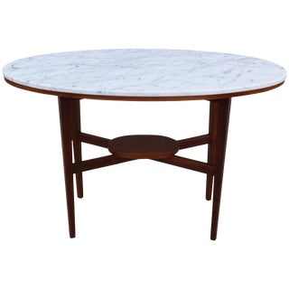 1960s Walnut and Carrara Marble Console For Sale