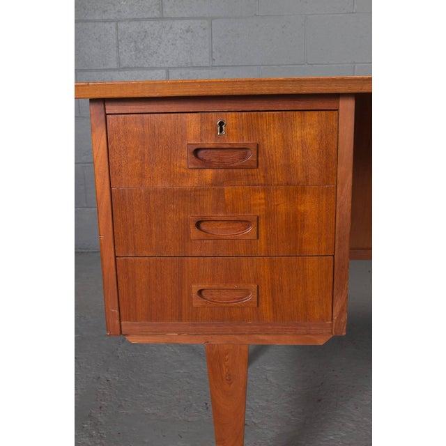 Brown Danish Modern Teak Desk For Sale - Image 8 of 10