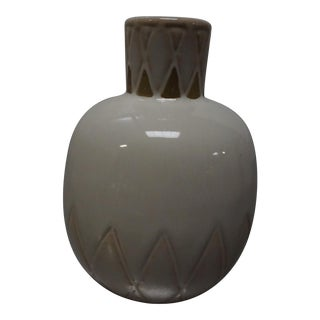 Small Cream Ceramic Vase With X Detail For Sale