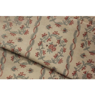 """Antique French Faded Floral + Bee Curtain Fabric for Bedcover Tablecloth - 64"""" X 90"""" For Sale"""