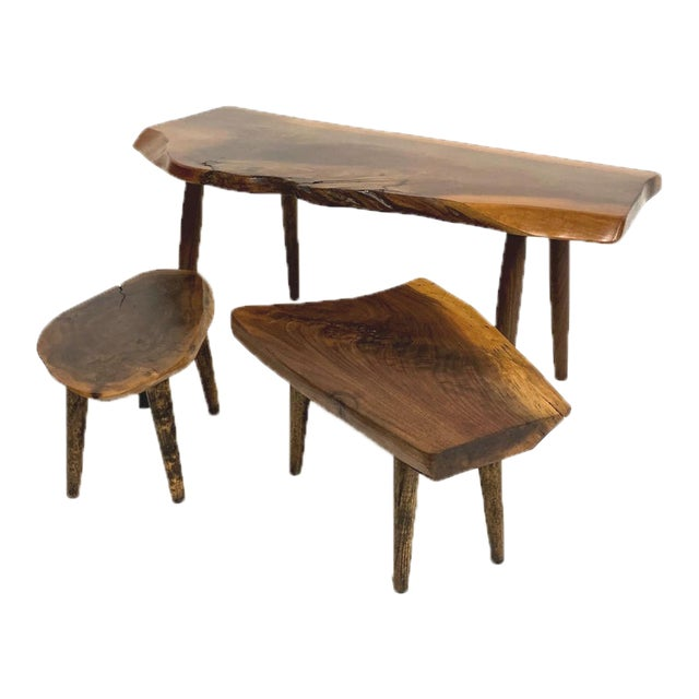 Studio Craft Walnut Live Edge Roy Sheldon Tables Signed - Set of 3 For Sale