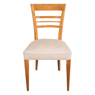 Art Deco Maple Desk Chair with Cream Woven Upholstery For Sale