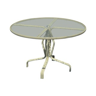 Brown Jordan Vintage Round Glass Top Patio Dining Table For Sale