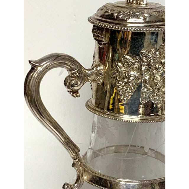 Silver English Sliver Plated and Engraved Glass Claret Jugs - a Pair For Sale - Image 8 of 10