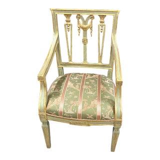 18th Century Italian Gilt & Painted Armchair For Sale