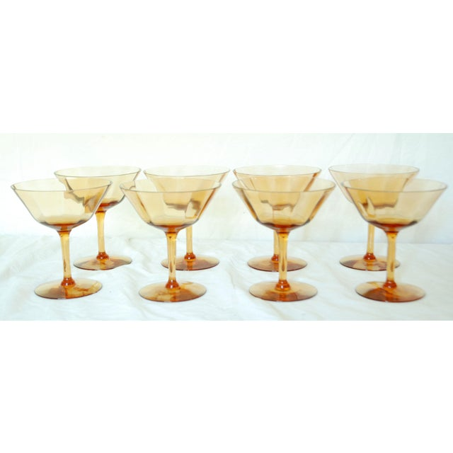 Traditional Vintage Crystal Amber Wine Glasses - Set of 16 For Sale - Image 3 of 4