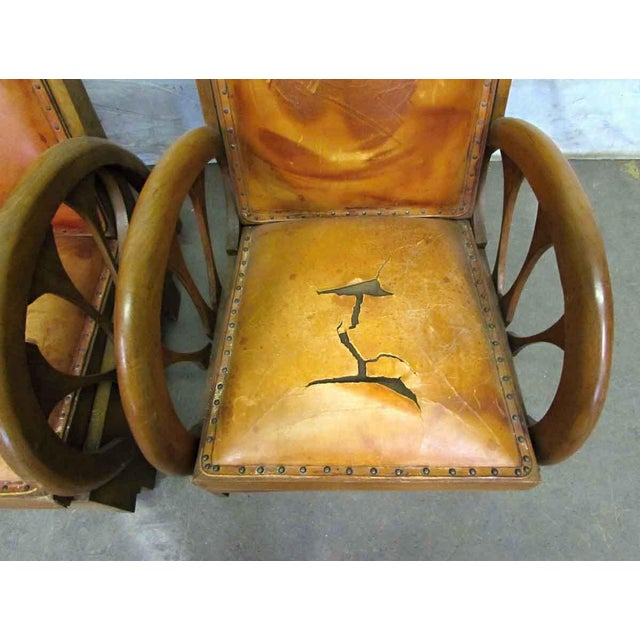 Brown Carved Wood & Leather Lounge Chairs For Sale - Image 8 of 12