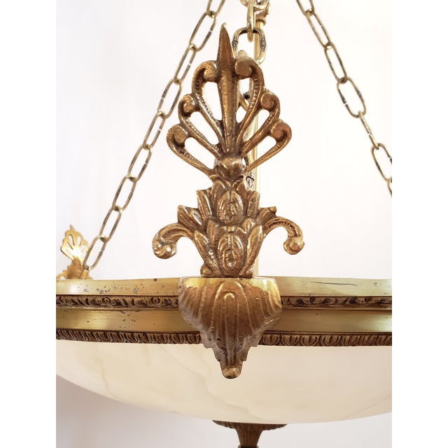 Fine Neoclassical Empire Style Alabaster & Dore Bronze Chandelier For Sale In New York - Image 6 of 12