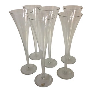 6 Vintage Tall Crystal Trumpet Champagne Glasses For Sale