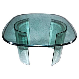 Large Mid-Century Modern Curved Beveled Glass Table For Sale