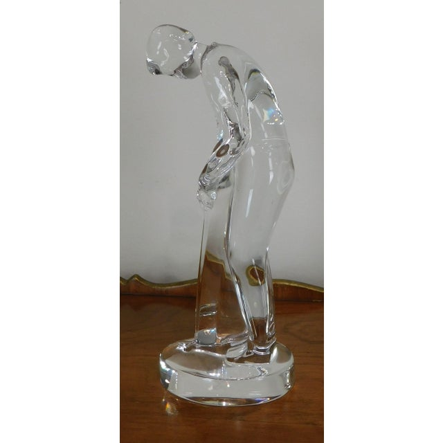 Traditional Baccarat Crystal Golfer Putting Figurine For Sale - Image 3 of 13