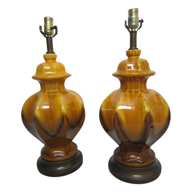 Midcentury Drip Glaze Lamps - Pair - Image 1 of 5