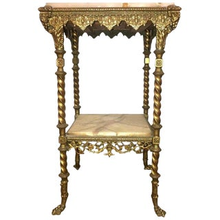 French Two-Tier Bronze and Alabaster Pedestal or End Table For Sale