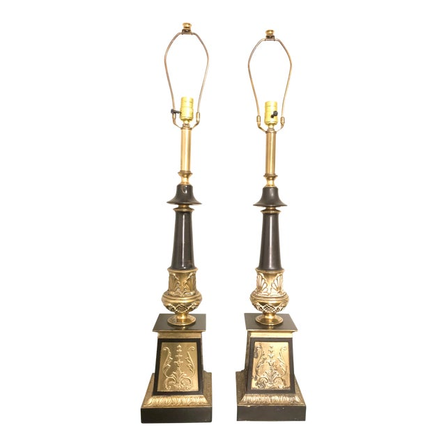 Hollywood Regency Neoclassical Style Brass and Black Lamps - a Pair For Sale