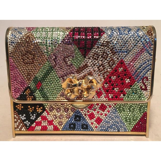 Abstract Judith Leiber Multicolor Swarovski Crystal Top Flap Box Minaudiere Evening Bag For Sale - Image 3 of 8