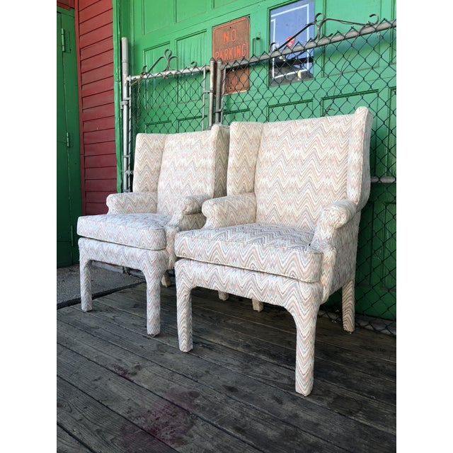 Mid-Century Modern Mid Century High Back Wingback Chair With Vintage Upholstery- A Pair For Sale - Image 3 of 12