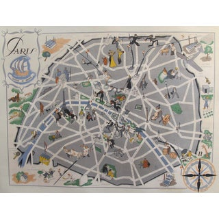 OriginalVintage Map of Paris, 1946