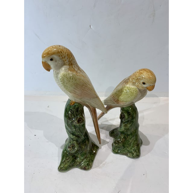 1970s 1970s Yellow Tone Parrot Bird Figurines - a Pair For Sale - Image 5 of 5