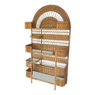 Mid-Century Modern Wicker Etagere For Sale