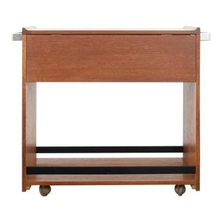 Mid-Century Minimalist Drop Leaf Bar Cart For Sale
