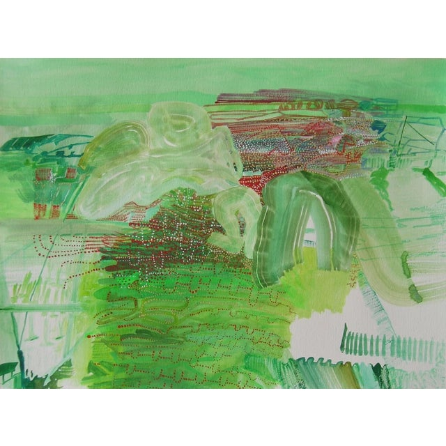 """Abstract Josette Urso """"Light Play"""" Abstract Green Watercolor Painting on Paper For Sale - Image 3 of 3"""