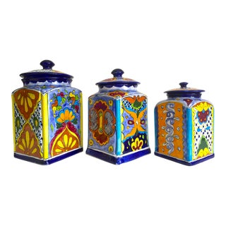 Vintage Mexican Art Pottery Talavera Hand Painted Multicolor Ceramic Canisters - Set of 3 For Sale