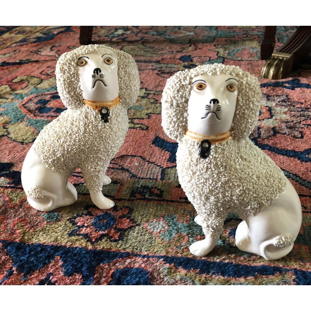 Antique Staffordshire Poodle Dog Figurines- a Pair For Sale - Image 13 of 13