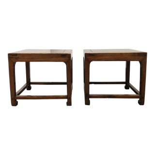 Pair of 19th Century Chinese Rosewood Square Side Tables For Sale
