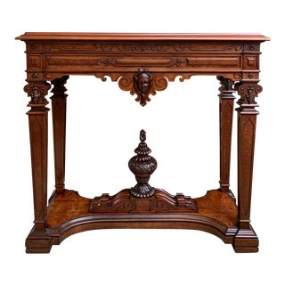 Antique French Carved Walnut Hall Sofa Table For Sale