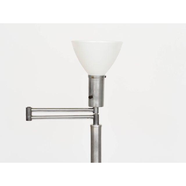 Mid-Century Modern Walter Von Nessen Style Brushed Aluminium Swing Arm Floor Lamp For Sale - Image 3 of 9