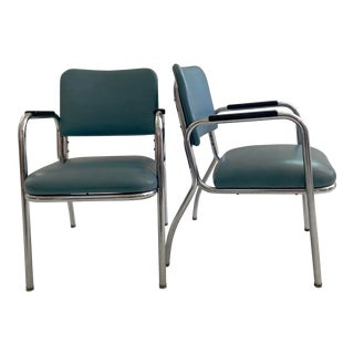 Vintage Royal Metal Manufacturing Tubular Chrome and Blue Chair For Sale