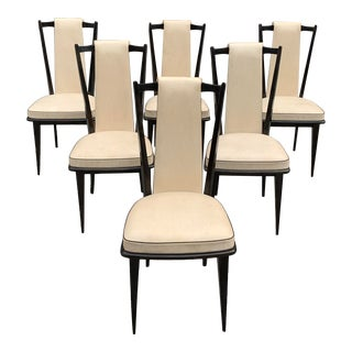1940s Vintage French Art Deco Macassar Ebony Dining Chairs- Set of 6 For Sale