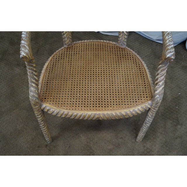 Hollywood Regency Gilt Painted Rope Turned Chair - Image 8 of 10