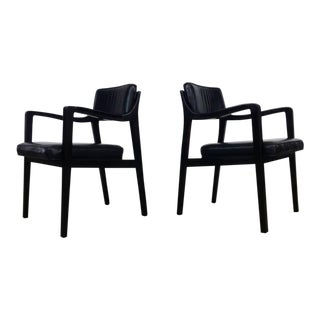 Pair of Dunbar Chairs in Black Leather For Sale