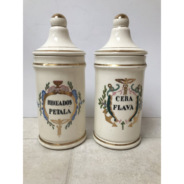 Pair of antique apothecary / pharmacy jars. Gorgeous hand painted with shades of blue, green, pink and gold. Gold rim...